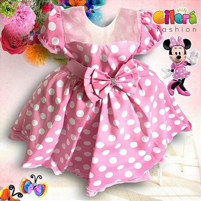 Vestido Infantil de Festa Tema Minnie Rosa