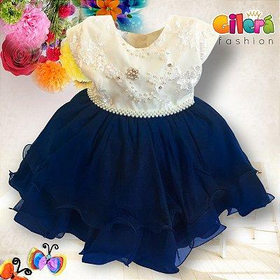 Vestido Infantil de Festa de Luxo Azul e Creme