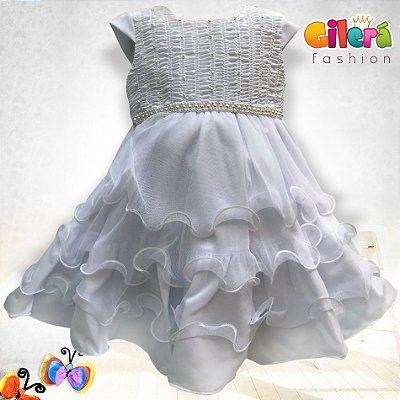 Vestido Infantil de Festa Luxo Branco