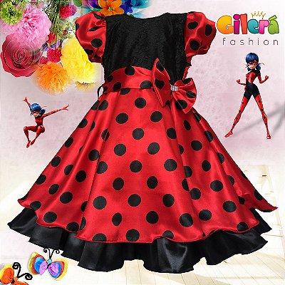 Vestido Infantil de Festa Tema Ladybug
