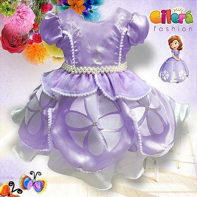 Vestido Infantil de Festa Tema Princesinha Sofia