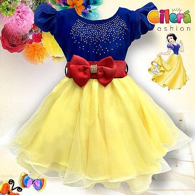 9d2d21e02d2 Gilerá Fashion. Vestido Infantil de Festa Branca de Neve
