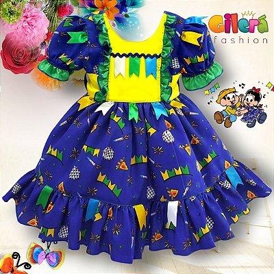 Vestido Infantil de Festa Junina Azul