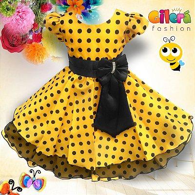 dbf5a40b677 Vestido Infantil de Festa Luxo Tema Abelhinha