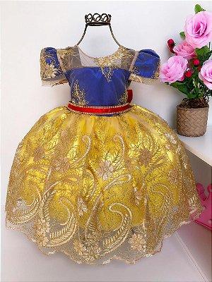 Vestido Infantil Luxo Branca de Neve Realeza