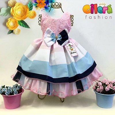 35ed2e69517 Vestido Infantil de Festa de Luxo Azul e Creme - Gilerá Fashion ...