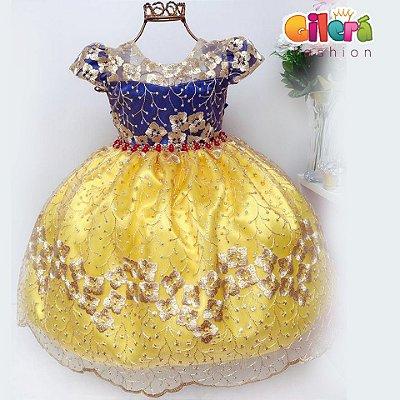 Vestido Infantil Festa Luxo Branca de Neve Realeza