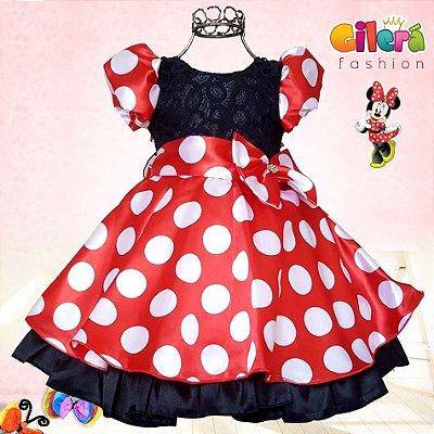 Vestido Infantil Luxo Tema Minnie