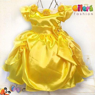 Vestido Infantil de Festa Tema Princesa Bela