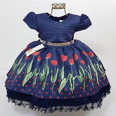 Vestido Infantil de Festa Luxo Tulipas