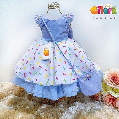Vestido Infantil Tema Festa Colorida