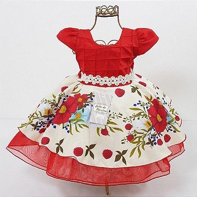 Vestido Infantil Festa Floral Vermelho