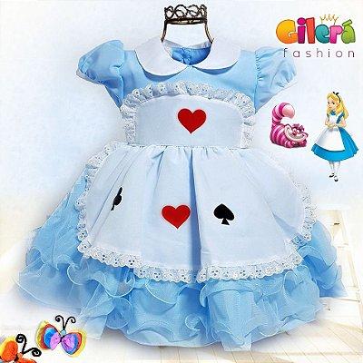 Vestido Infantil de Festa Tema Alice no País das Maravilhas