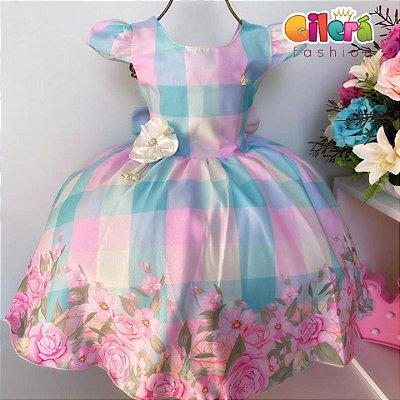 Vestido Infantil de Festa Xadrez Floral