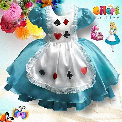 Vestido Infantil Alice no País das Maravilhas com 6 Peças - Atacado