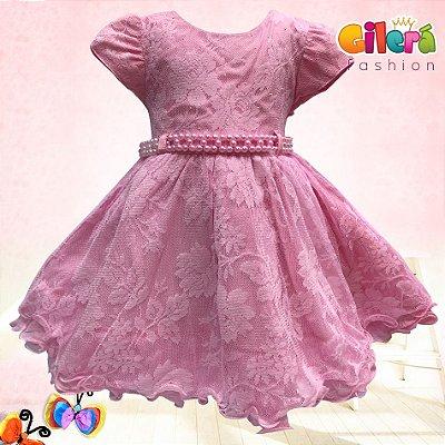 Vestido Infantil de Luxo Rosa Princesa Aurora