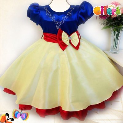 Vestido Infantil de Festa Brilho Branca de Neve