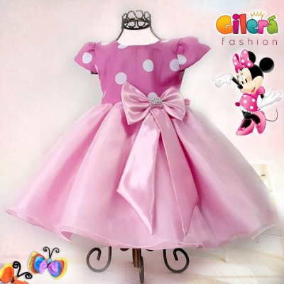 Vestido Infantil Luxo Tema Minnie Rosa