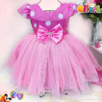 Vestido Infantil Tema Minnie Tule Rosa