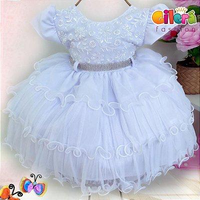 Vestido Infantil Branco para Festas Batizados