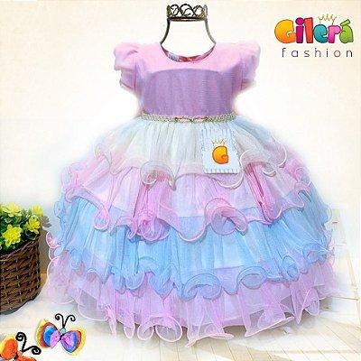 Vestido Infantil de Festa Colorido Unicórnio Circo Chuva de Amor Benção