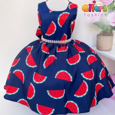 Vestido Infantil de Festa Azul Tema Magali Melancia