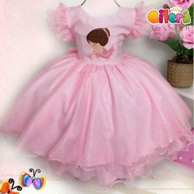 Vestido Fantasia Infantil de Festa Tema Bailarina Rosa