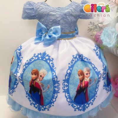 Vestido Infantil de Festa Azul Fantasia Frozen Princesa Elsa de Arendelle