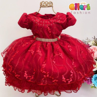Vestido Infantil Bebê Festa Luxo Vermelho Renda