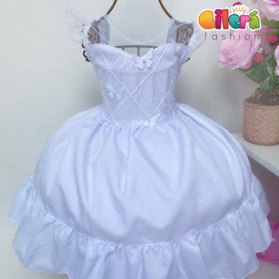 Vestido Infantil Branco Borboleta para Festas Daminhas Batizados Dama de Honra Casamento