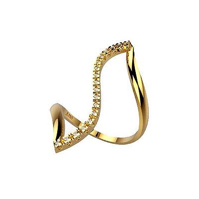 Anel Z Ouro 18k Com Pedras Diamantes - cod.1700