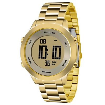 7484fcc692390 Relógio Lince Feminino Dourado Digital Sdph037l