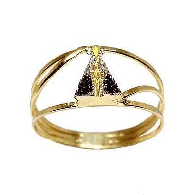 7d0172ad75ef3 Anel Nossa Senhora Ouro 18k Com Zircônias - cod.9414