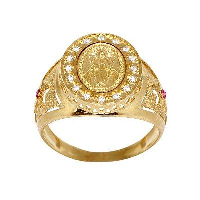 1860640d45772 Anel Nossa Senhora Ouro 18k Zircônias - cod.6930
