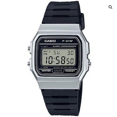4023d790599 Relógio Casio Masculino Preto Prata F91wm7adf