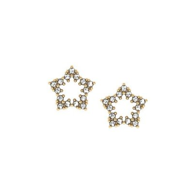 Brinco Estrela Ouro 18k Zircônias - cod.4397