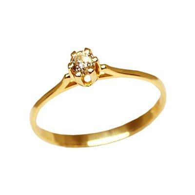 eff1fa985c310 Anel Solitário Ouro 18k Diamante 15 Pontos - cod.8664