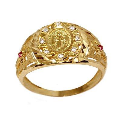 6253496a3cf74 Anel Nossa Senhora Ouro 18k Zircônias - cod.13693