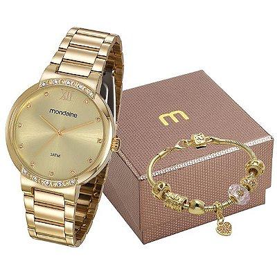 Kit Relógio Mondaine Feminino Dourado 99297lpmgde1k1 48f2542fcc