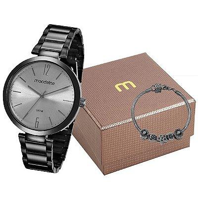 e39f1c93790 Kit Relógio Mondaine Feminino Preto 53719lpmgpe4k1