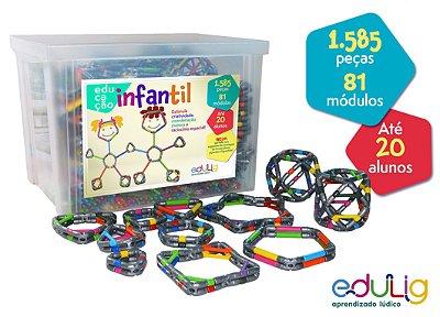 Brinquedo Educativo Edulig Educação Infantil  - 1585 peças e conexões - até 20 alunos 4 anos em diante
