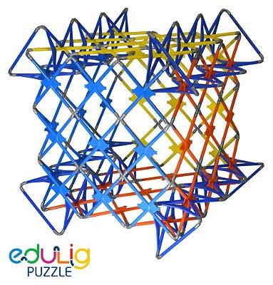 Quebra-cabeça Edulig Puzzle 3D Mega Cubo - 190 peças e conexões - 6 cores - Edulig