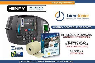 KIT CONTROLE DE PONTO - Relógio de Ponto Biométrico INMETRO Henry Prisma ADV + Licença vitalícia do sistema Ponto 4 para 200 colabradores + 1 bobina