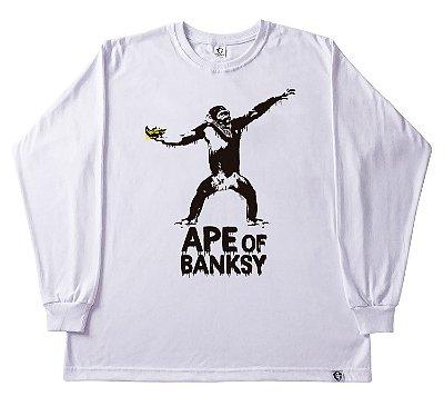 501. CAMISETA MANGA LONGA BRANCA APE OF BANKSY