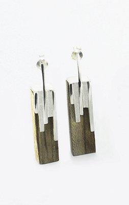 Brinco City Roots - Prata 950 e madeira