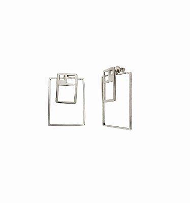 Brinco Proporção Aurea Quadrado - Prata 950