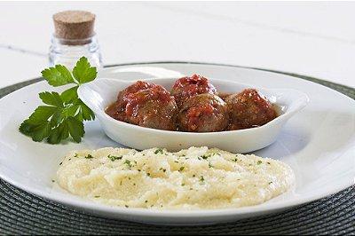 Almôndegas de Carne ao Molho de Tomate com Purê de Batata 300g | Porção Individual | Produto congelado e acondicionado a vácuo