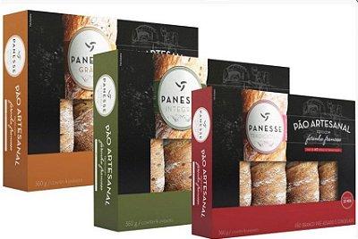 Seleção de pães panesse (grãos, tradicional e integral)