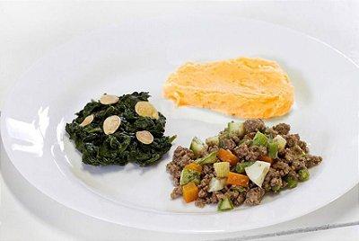 Carne Moída Temperada + Espinafre com Amêndoas + Purê de Cenoura com Gengibre 300g | Porção Individual | Produto acondicionado a vácuo