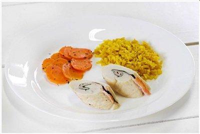 Saltimboca de Frango + Cenoura Salteada + Arroz Integral com Cúrcuma 300g | Porção Individual | Produto acondicionado a vácuo